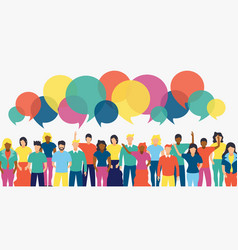 Diverse people team with social chat bubbles vector