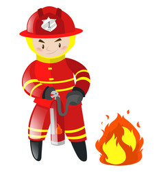 Fireman putting out the fire vector