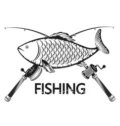 Fish and fishing rods vector