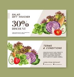 Gift voucher vegetable watercolor paint vector