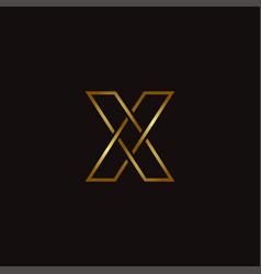 golden elegant letter x logo icon template vector image