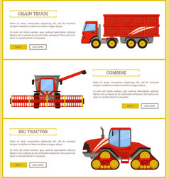 Grain truck and tractor set vector