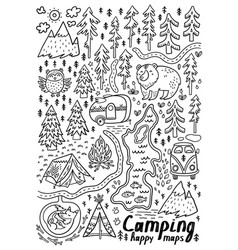 Hand drawn maps print for camping vector