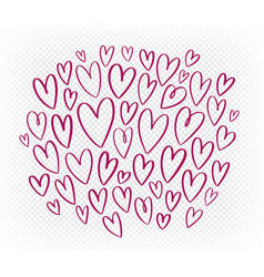 Hand drawn red heart set elements doodle vector