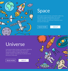 hand drawn space elements horizontal web vector image