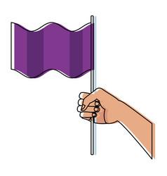 Hand waving a purple flag symbol vector