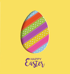 happy easter card with lettering cut out easter vector image