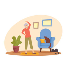 Happy pensioner woman hobby and healthy lifestyle vector