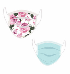 healthy female wear protective mask set vector image