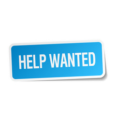 Help wanted blue square sticker isolated on white vector