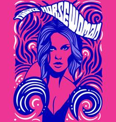 Horsewoman psychedelic vintage poster design vector