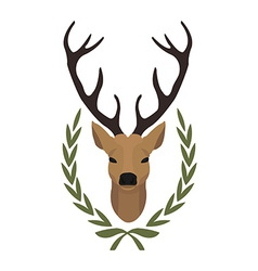 Hunting trophy Deer head in laurel wreath No vector image