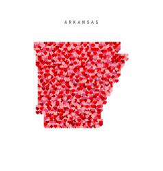 I love arkansas red hearts pattern map arkansas vector