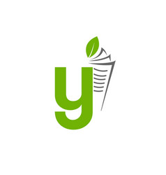 initial letter y with paper and leaf shape in vector image