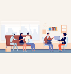 job interview queue people and robot sitting vector image