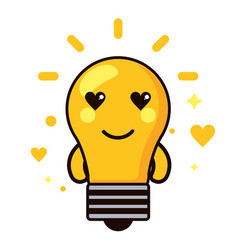 light bulb kawaii cartoon happy cute heart icon vector image