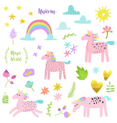 Magic unicorn childish elements set with unicorns vector