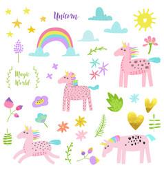 magic unicorn childish elements set with unicorns vector image