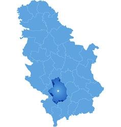 Map of Serbia Subdivision Kosovska-Mitrovica vector