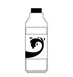 Milk bottle in black dotted silhouette vector