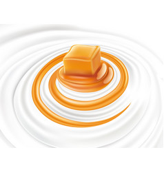 milk swirl with sweet caramel candy vector image