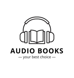 modern audio books store logo Line style vector image