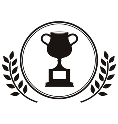 monochrome trophy cup with olive branch vector image
