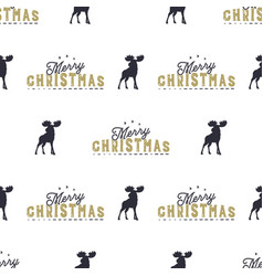 moose and merry christmas lettering pattern wild vector image