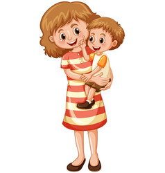 Mother and son on white background vector
