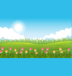 Nature scene background with beautiful flowers in vector