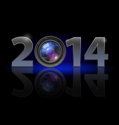 new year 2014 metal numerals with camera lens vector image