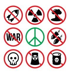 No nuclear weapon no war no bombs warning signs vector