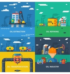 Oil industry flat set vector