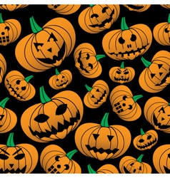 orange halloween carved pumpkin seamless pattern vector image