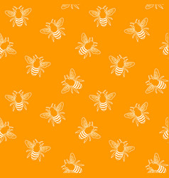 orange honey bee seamless pattern vector image