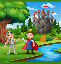 Prince and knight outdoors in the evening vector