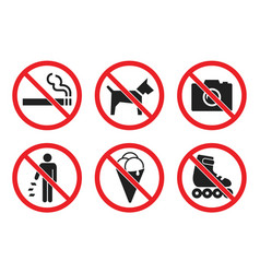 Prohibition sign set at entrance to store vector