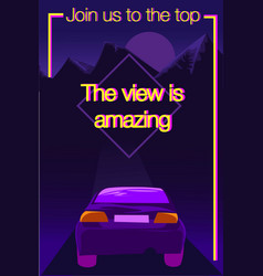 purple and yellow poster with message vector image
