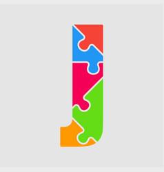 puzzle piece letter - j jigsaw font shape vector image