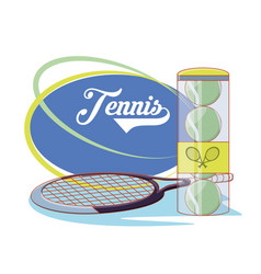 racket and balls to play tennis sport vector image