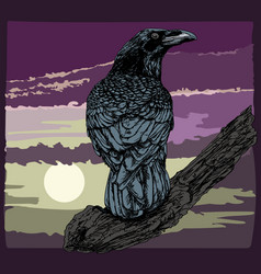 Raven crow on branch hand-drawn vector
