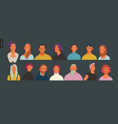 real people portraits set - men and women vector image