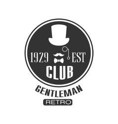 Retro Gentleman Club Label Design vector image
