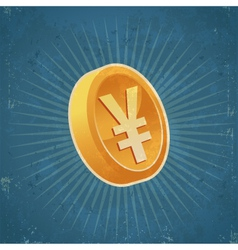 Retro Gold Yen Coin vector image
