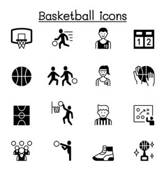 Set basketball related icons contains vector