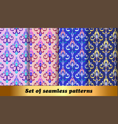 set floral seamless patterns with fleur de lis vector image