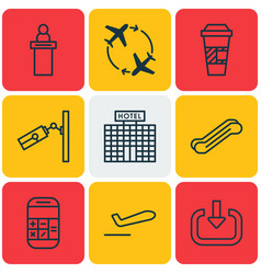 Set of 9 airport icons includes takeaway coffee vector