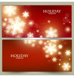 Set of Elegant Red Christmas banners with vector