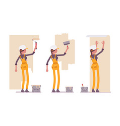 Set of female worker in yellow overall working vector