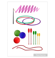 Set of Rhythmic Gymnastic Equipments on White vector image